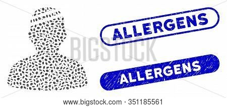 Mosaic Patient And Corroded Stamp Seals With Allergens Caption. Mosaic Vector Patient Is Formed With