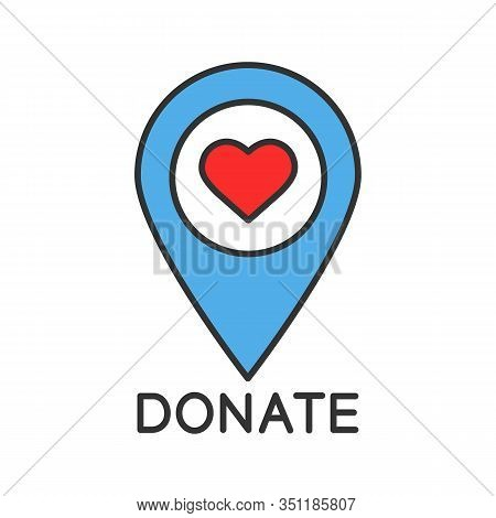Charity Organization Location Color Icon. Map Pinpoint With Heart. Place For Dates. Isolated Vector
