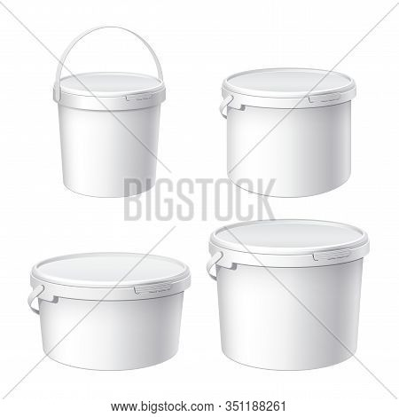 Mockup For Design. White Plastic Buckets. A Small Large And Medium Bucket With A Lid. Container For
