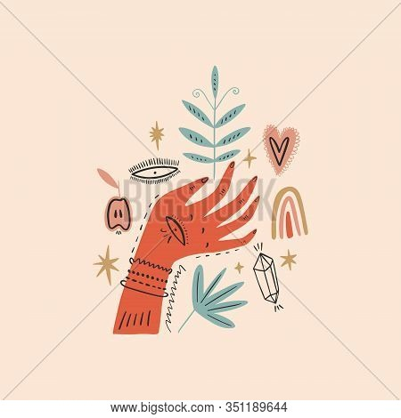 Magical Ornate Hand. Planet Week Art, Earth Day. Save Nature, Green Life Concept. Vector Illustratio