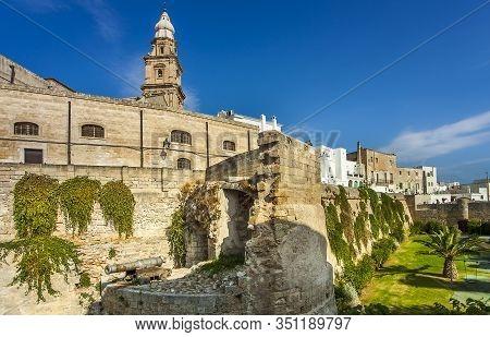 Monopoli Apulia Italy On October 16, 2019 The Historic City Wall Il Bastione Del Molino