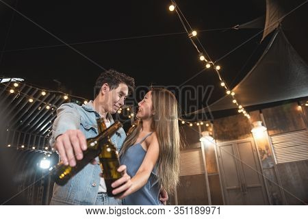 Young Asian Couple Lover Have Fun Dancing And Drinking In Night Party On Rooftop Floor Nightclub Han