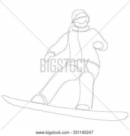 Continuous One Line Drawing Of Winter Sport Of Snowboarding. A Man On The Snowboard Freestyle. Vecto