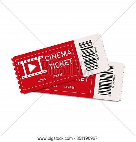 Two Red Cinema Tickets Isolated On White Background. Close Up Top View On Two Movie Tickets. Realist