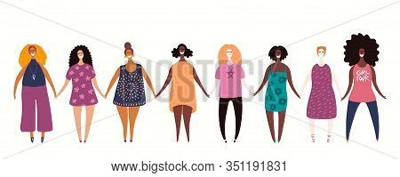 Hand Drawn Vector Illustration Of Diverse Modern Girls Together. Isolated People On White. Flat Styl