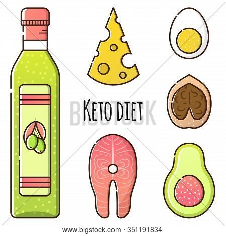 Vector Set Of Products For Keto Diet. Olive Oil, Fish Salmon, Walnut, Avocado, Egg And Cheese. Isola