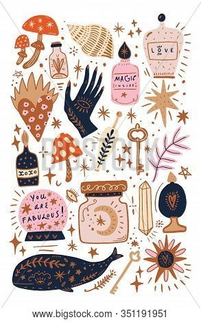 Vector Vintage Collection Of Witchcraft Cartoon Elements, Magic Shop For Witches Concept, Wizard Sym