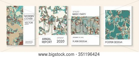 Geographic Map Fluid Paint Vector Cover. Brown Red Earth Soil Volcano Design. Modern Earth Day Ecolo