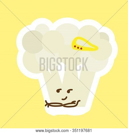 Misterious Look Fo Cauliflower Sticker With Kawaii Cute Face. Happy Person With Squinted Eyes. Can B