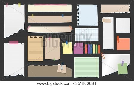 Paper Notes, Torn Page Memo On Clips, Sticky Notes