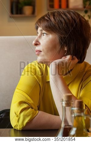 Mid Adult Woman With Short Haircut Portrait