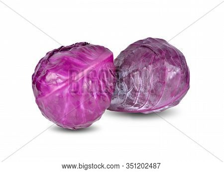 Whole Fresh Red Cabbage On White Background