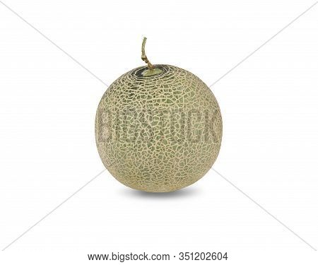 Whole Green Melon With Stem On White Background