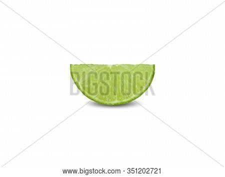 Cut Piece Green Lime On White Background