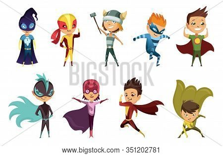 Cute Superhero Kids In Colorful Costumes. Kids Dressed As Superheroes. Funny Flat Isolated Vector De