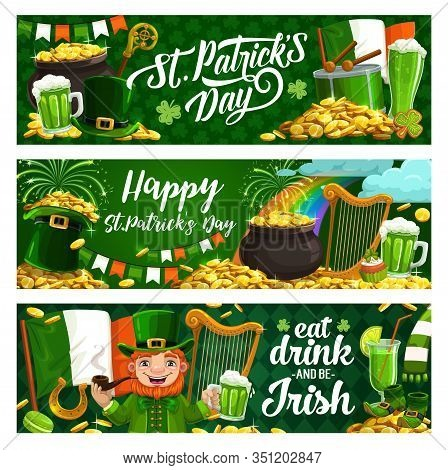 Happy Saint Patrick Day, Luck Shamrock And Leprechaun Gold Coins In Cauldron Pot Banners. Vector St
