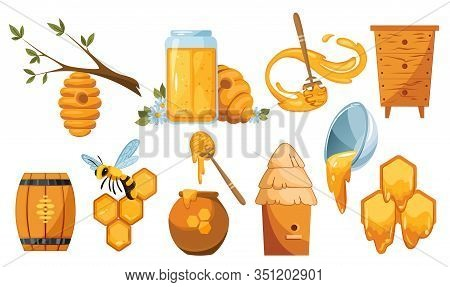 Set Illustrations Of Beekeeping. Wooden Jar With Honey Drops And Dipper Spoon. Vector Bees Swarm. Ho