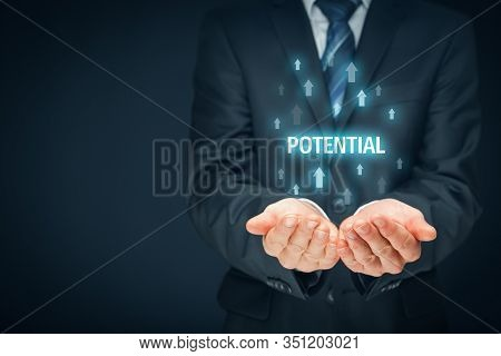 Coach Motivate To Fulfil Growing Potential - Visual Metaphor And Concept. Mentor Give Opportunity Of