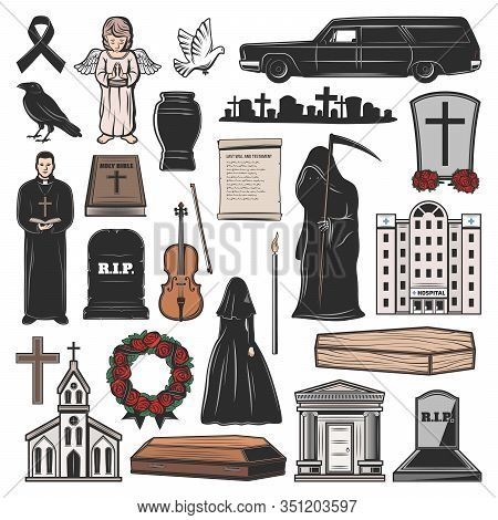 Funeral Vector Icons Of Coffin, Death And Candle, Grave, Tombstone And Memorial Cross, Church, Mortu