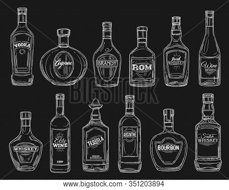 Alcohol Drink Bottle Chalk Sketches On Blackboard. Vector Wine, Vodka And Whiskey, Tequila, Cognac A