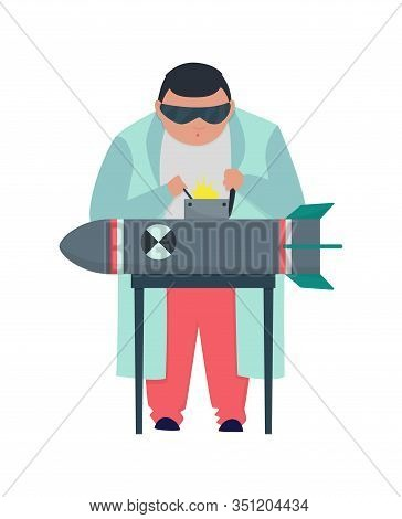 Mad Professor In Lab Coat Working On Bomb. Crazy Scientist Stereotype. Doctor Research In A Laborato