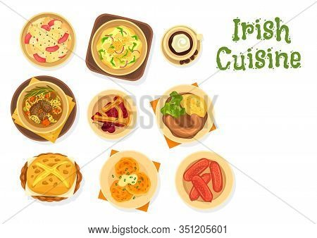 Irish Dishes Of Meat And Vegetable Stew With Soda Bread, Cream Coffee And Fruit Dessert. Vector Pota
