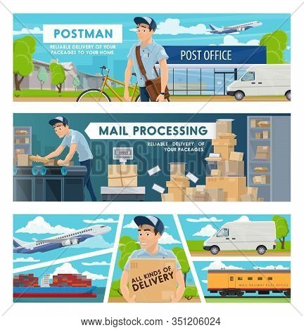 Mail Delivery, Post Office And Postal Transportation Services Vector Design. Postmen With Parcel Box
