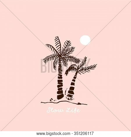 Paradise Poster Quote With Palm Tree And Moon, Minimal Print, Ocean Flyer, Vacation Sign, Trendy T-s