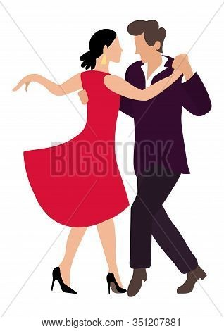 Tango Couple Dancing A Passionate Dance. Woman In A Red Dress And A Man In A Black Suit. Illustratio