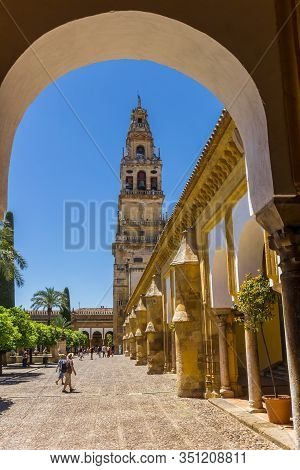 Cordoba, Spain - May 13, 2019: Arch And Bell Tower Of The Mosque Cathedral In Cordoba, Spain
