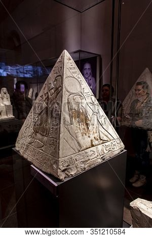 Turin, Italy - June 3, 2015: Pyramidion Of Ramose From Museo Egizio In Turin, Italy. Museum Houses O