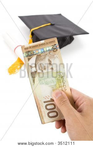 Black Mortarboard And Canadian Dollar