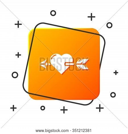 White Amour Symbol With Heart And Arrow Icon Isolated On White Background. Love Sign. Valentines Sym