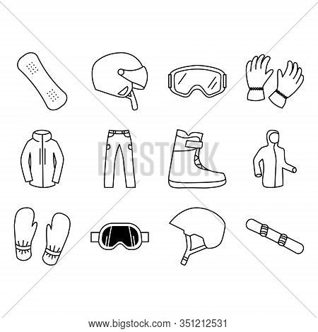 Vector Snowboarding Icon Set, Snowboard Infographics. Isolated Symbols Of Winter Sports Clothing, Sp