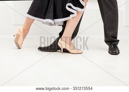 Partner Dance. Male And Female Ballroom, Standard, Sport Dance, Latin And Salsa Couple Dancers Feet