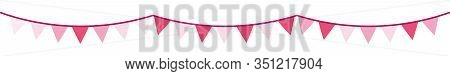 Pink Pennant, Bunting For Banner, Print, Web. Festive Vector Pattern. Celebration Decor For Baby Sho