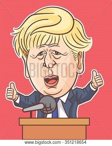 London, Uk, 17 Feb, 2020, Boris Johnson Caricature Giving Speech On Stage