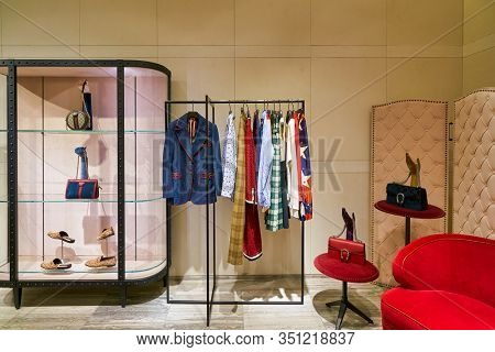 HONG KONG, CHINA - JANUARY 22, 2019: interior shot of Lane Crawford in Hong Kong. Lane Crawford is a retail company with speciality stores selling luxury goods in Hong Kong and Mainland China.