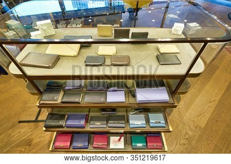 HONG KONG, CHINA - JANUARY 22, 2019: goods on display at Agnes B store in Hong Kong.