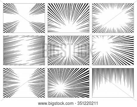 Set Of Black And White, Gray Radial Lines Comics Style Background. Manga Action, Speed Abstract. Vec