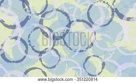 Allover Watercolor Circle Stamps Textile Print. Circular Spot Overlapping Elements Vector Seamless P
