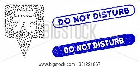 Collage Yuan Map Pointer And Grunge Stamp Seals With Do Not Disturb Phrase. Mosaic Vector Yuan Map P
