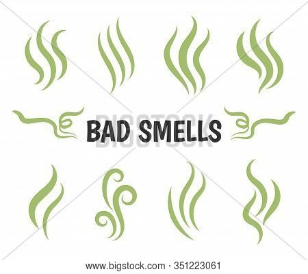 Bad Smells. Isolated Smoke Icons, Aromas Vaporizer. Hot Aroma, Stink Or Cooking Steam Symbols, Smell