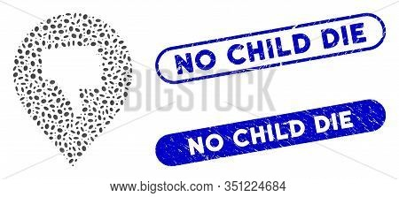 Mosaic Thumb Down Marker And Grunge Stamp Watermarks With No Child Die Phrase. Mosaic Vector Thumb D