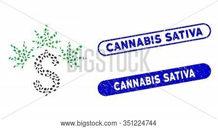 Mosaic Cannabis Business And Corroded Stamp Watermarks With Cannabis Sativa Phrase. Mosaic Vector Ca