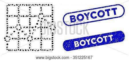 Mosaic Line Plot And Grunge Stamp Seals With Boycott Caption. Mosaic Vector Line Plot Is Designed Wi
