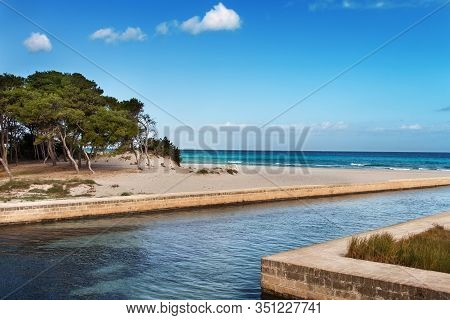 Canal And Dunes Near Alimini Lakes, Salento, Puglia, Italy