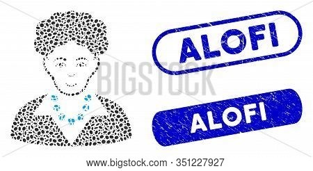 Mosaic Brunette Woman And Corroded Stamp Watermarks With Alofi Text. Mosaic Vector Brunette Woman Is