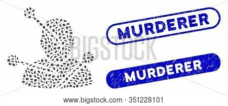 Mosaic Voodoo Needles And Corroded Stamp Seals With Murderer Caption. Mosaic Vector Voodoo Needles I
