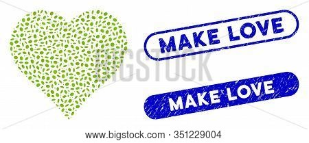 Collage Favourites And Distressed Stamp Seals With Make Love Text. Mosaic Vector Favourites Is Creat
